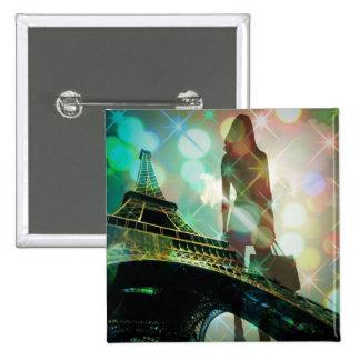 Modern Eiffel Tower Paris Bridal Shower Button