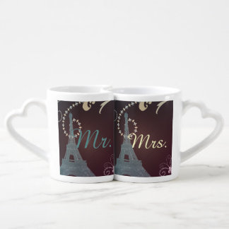 modern eiffel tower vintage paris wedding couples' coffee mug set
