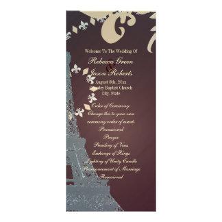 modern eiffel tower vintage paris wedding programs rack card template