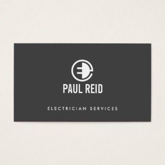 Modern Electrician Logo Gray Business Card