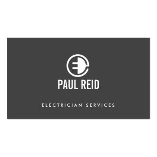 Modern Electrician Logo Gray Double-Sided Standard Business Cards (Pack Of 100)