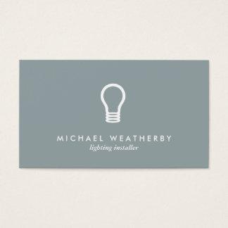MODERN ELECTRICIAN LOGO LIGHTBULB on SLATE GRAY Business Card