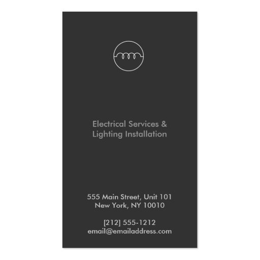 MODERN ELECTRICIAN LOGO on DK GRAY Business Card Template (back side)