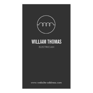 MODERN ELECTRICIAN LOGO on DK GRAY Double-Sided Standard Business Cards (Pack Of 100)