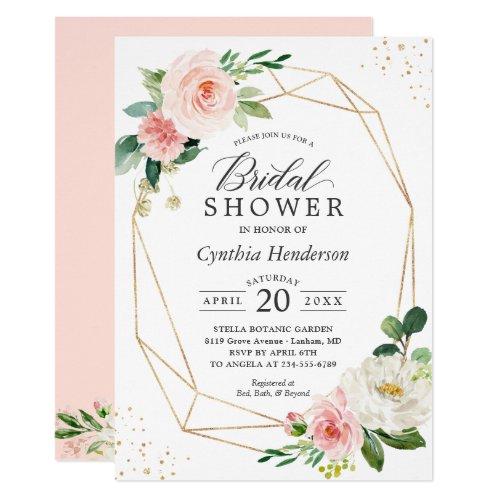 Modern Elegance Blush Pink Floral Bridal Shower Invitation