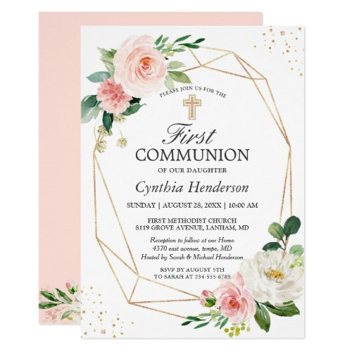 Modern Elegance Blush Pink Floral First Communion Invitation