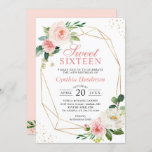 """Modern Elegance Blush Pink Floral Sweet Sixteen 16 Invitation<br><div class=""""desc"""">Celebrate the Sweet Sixteen Birthday with this """"Modern Elegance Blush Pink Floral Invitation"""" that features a Modern Geometric Frame and Blush Watercolor Peonies. It's easy to customize this design to be uniquely yours. For further customization, please click on the """"customize further"""" link and use our design tool to modify this...</div>"""