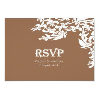 Modern Elegance Brown Fleur de Lis RSVP Card