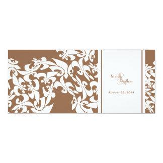 Modern Elegance Brown Fleur de Lis Wedding Card