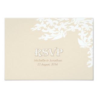 Modern Elegance Ecru Fleur de Lis RSVP Custom Invite