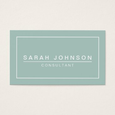 Professional Business Modern Elegance Mint Green Business Card