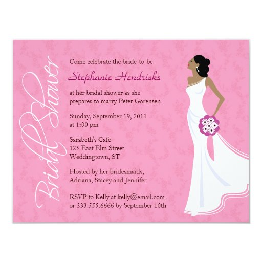 Modern Elegance Pink Bridal Shower Personalized Invitation