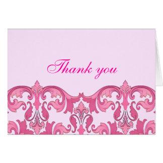 Modern Elegance Pink Damask Thank You Card