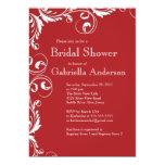 "Modern Elegance Red Bridal Shower Invitation 5"" X 7"" Invitation Card"