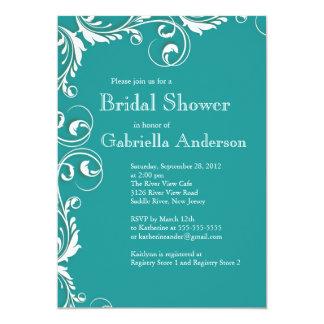 Modern turquoise floral bridal shower invitations for Modern bridal shower invitations