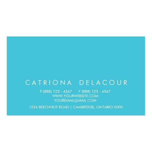 Modern Elegance Turquoise Business Card (back side)