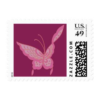 Modern elegant Art Nouveau butterfly rose Postage Stamp