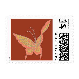 Modern elegant Art Nouveau butterfly vermilion Postage