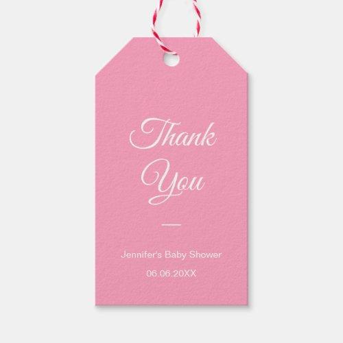 Modern Elegant Baby Shower Thank You Blush Pink Gift Tags