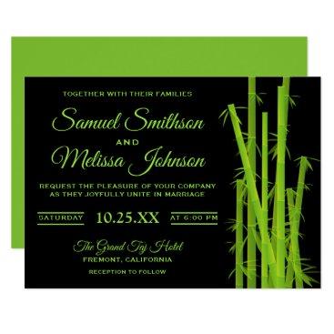 Wedding Themed Modern Elegant Bamboo Plant Wedding Invitation