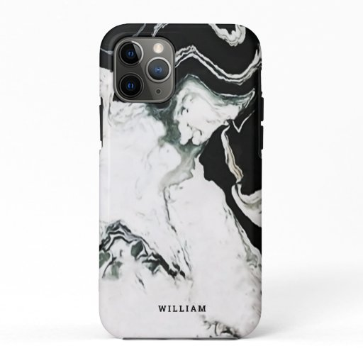 Modern Elegant Black and White Panda Marble Custom iPhone 11 Pro Case