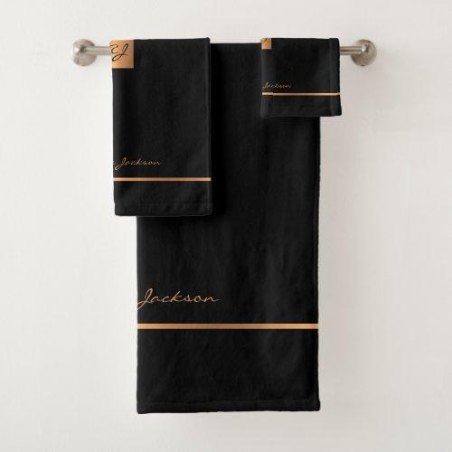 Modern elegant black gold chic monogrammed stripes bath towel set