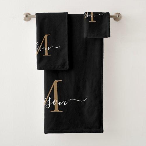 Modern Elegant Black Gold Monogram Script Name Bath Towel Set