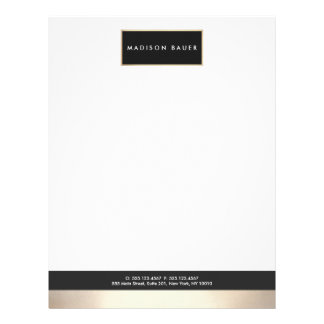 Modern Elegant Black Gold Plaque Professional Letterhead