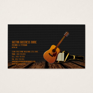 Modern Elegant Black Music Guitar Business  Card