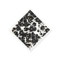 Modern Elegant Black White and Gold Floral Pattern Napkin
