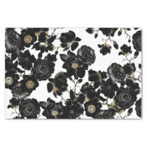 Modern Elegant Black White and Gold Floral Pattern Tissue Paper