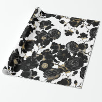 Modern Elegant Black White and Gold Floral Pattern Wrapping Paper