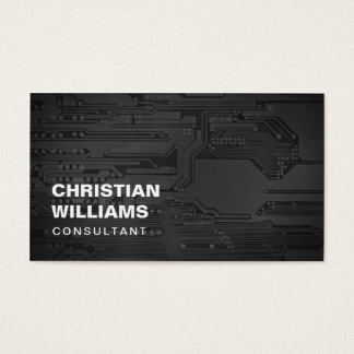 Modern Elegant Black White CircuitBoard Consultant Business Card