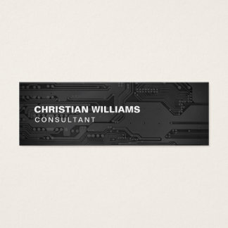 Modern Elegant Black White CircuitBoard Consultant Mini Business Card