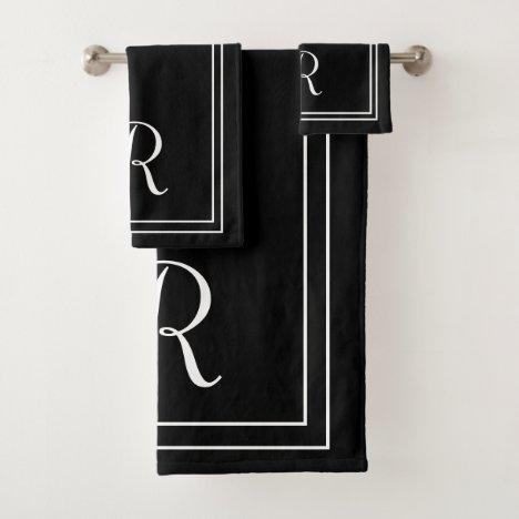 Modern Elegant Black & White Monogram Bath Towel Set