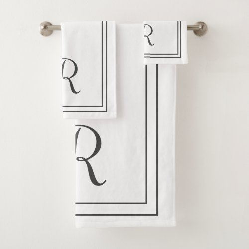 Modern Elegant Black & White Stripes Monogram Bath Towel Set