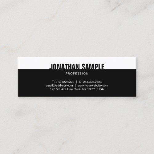 Modern Elegant Black White Template Professional Mini Business Card