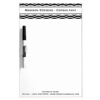 Modern Elegant Black Zig Zag Dry Erase Board