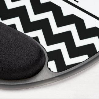 Modern Elegant Black Zig Zag Gel Mouse Pad