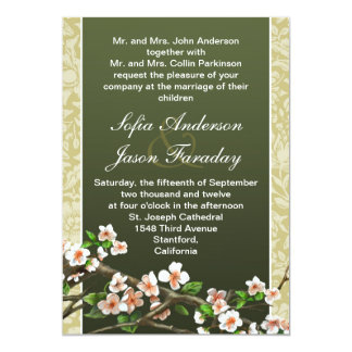 Modern elegant blossoms wedding invitation