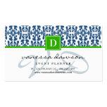 Modern Elegant Blue Arabesque Damask Monogram Business Card Template