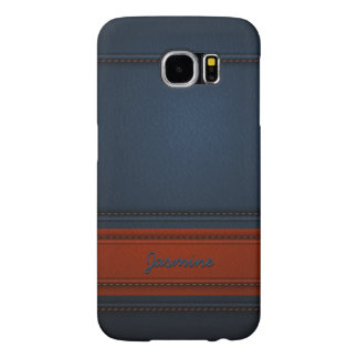 Modern Elegant Blue Leather Look Name Texture Samsung Galaxy S6 Case