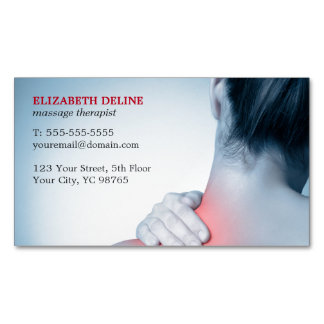 Modern Elegant Blue Photo Massage Therapist Business Card Magnet