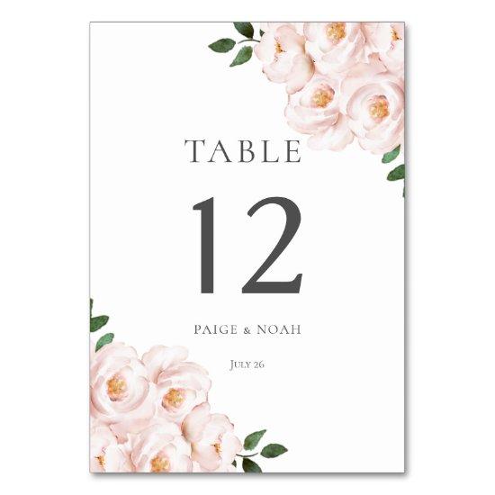 Modern Elegant Blush Floral Table Wedding Table Number