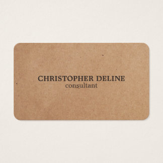 Modern Elegant Brown White Kraft Paper Consultant Business Card