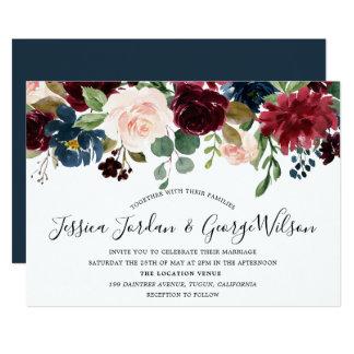 Modern Elegant Burgundy Garden Fall wedding Invite