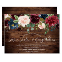 Modern Elegant Burgundy Garden Rustic Wedding Invitation