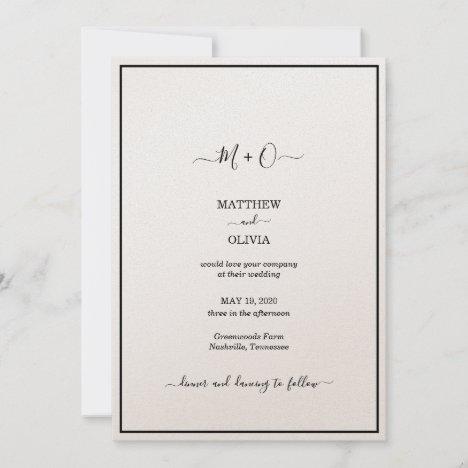 Modern Elegant Calligraphy Monogram Wedding Announcement