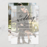 "Modern Elegant Calligraphy Photo Overlay Wedding Invitation<br><div class=""desc"">Modern Elegant Calligraphy Script Wedding Invitation with Overlay - Photo Back and Photo Front</div>"