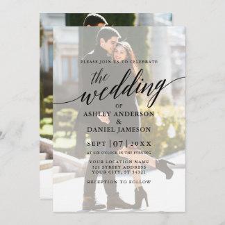 Modern Elegant Calligraphy Photo Overlay Wedding Invitation